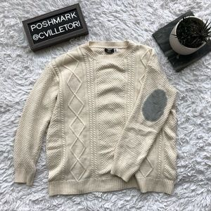 UO BDG Cable Knit Sweater Elbow Patches Small